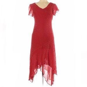 Adrianna papell polka dot silk handkerchief dress
